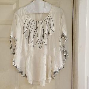Maude cream embroidered light weight top